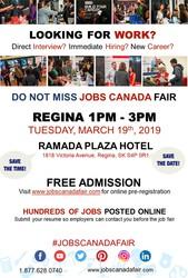 Regina Job Fair: March 19th,  2019